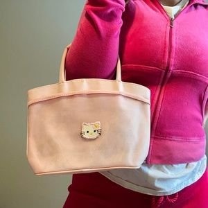 Embroidered Hello Kitty Baby Pink Mesh Bag